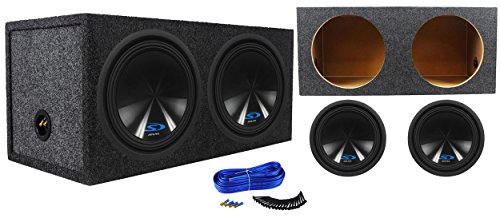 (2) Alpine Type-S SWS-12D2 3000w Car Subwoofers+Sealed Sub Box Enclosure SWS12D2