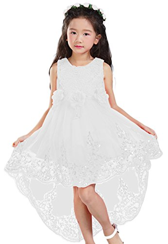 [YMING Girls Flower Dress White High Low Wedding Princess Dresses 7-8 Years] (Devil Masks For Sale)