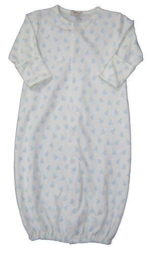 Print Ecru (Kissy Kissy Baby-Boys Infant Organic Mini Bears Print Convertible Gown-Ecru With Blue-Newborn)