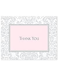 50 Cnt Grey Pink Damask Baby Shower or Bridal Shower Thank You Cards BOBEBE Online Baby Store From New York to Miami and Los Angeles