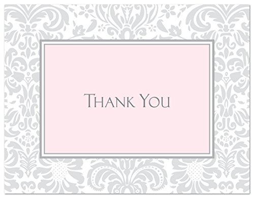 50 Cnt Grey Pink Damask Baby Shower or Bridal Shower Thank You Cards