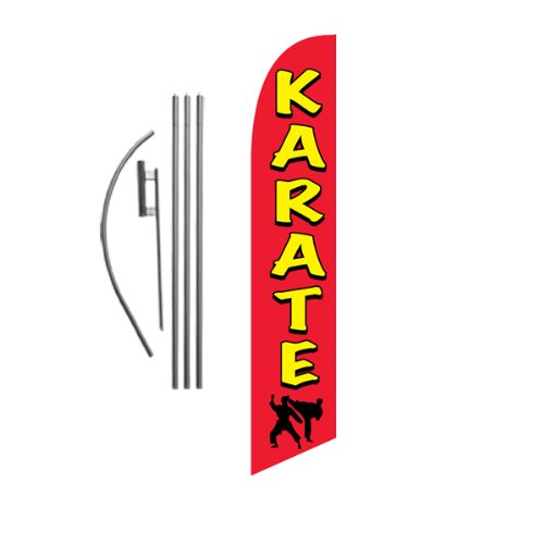 Karate Advertising Feather Banner Swooper Flag Sign with Flag Pole Kit and Ground Stake, Martial Arts