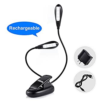 Ledgle LED Book Light Rechargeable Extra-Bright 8 LEDs, Easy Clip On Reading Light, 5 Brightness Settings, Soft Padded Clamp, USB Cable & UL Certified CE Charger. Perfect for Night Readers