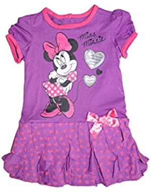 Minnie Mouse Baby Girls Dress with Ruffled Flounce - Purple