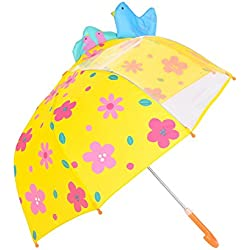 Rainbrace Umbrella Kids Fashion Childrens Dome Rain Umbrella 37-Inch for Boys and Girls with Clear Window Panel, Bird and Flower, Yellow