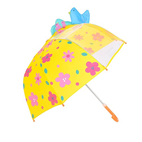Rainbrace Umbrella Kids Fashion Childrens Dome Rain Umbrella 37-Inch for Boys and Girls with Clear Window Panel, Bird and Flower, Yellow (Is Big Bird A Boy Or Girl)