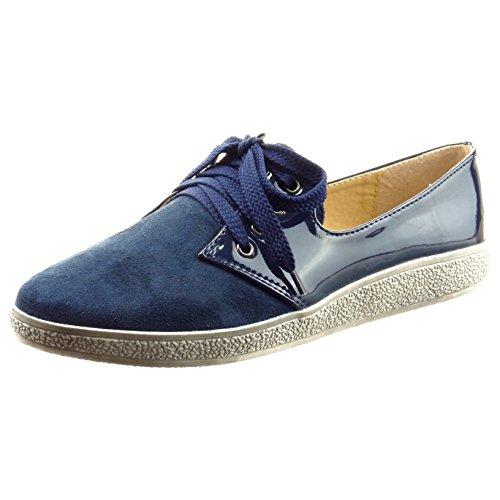 Sopily - Zapatillas de Moda zapato derby Tobillo mujer brillantes patentes Talón Tacón ancho 2 CM - Azul