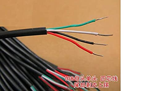 Computer Cables 10pcs Full Copper 30CM Single Head USB Head//Single Head Charge 2.0 Cable core end Peeled tin Cable Length: Other