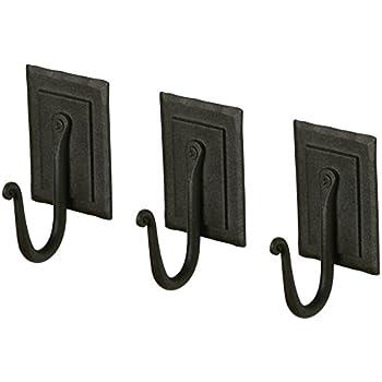 Amazon.com: Paquete de 2 ganchos de hierro forjado toallero ...