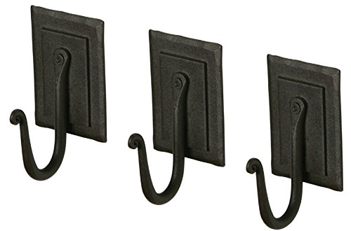 - Wrought Iron Coat Rack Hooks | 3 Black Handmade Double-Plated Hangers for Coat, Hat, Cloths, Towels | Spacy Home RTZEN Décor | Wall Mounted