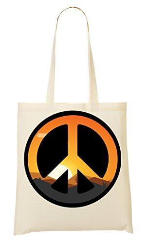 Sunset Inspired Peace Symbol Graphic Bolso De Mano Bolsa De La Compra