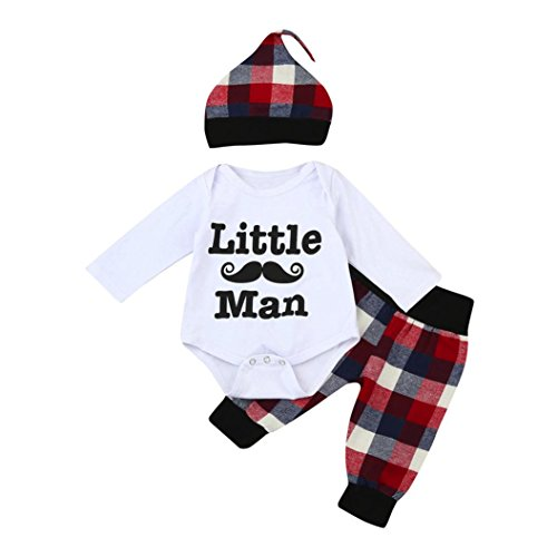 TrimakeShop Baby Boys Little Man Print Romper+Plaid Pants+Hat Outfits Set (3-6M, White)