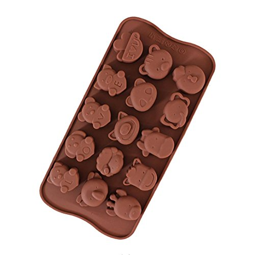 Cake Mould 15 Holes Fun Taste Animal Biscuit Chocolate Cookie Candy Cutter Wedding Party Decoration, Non-Stick Baking Pastry Tools, Resistant High Temperature Easy to Use and Clean -