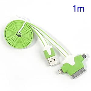 JUJEO 1M 3-In-1 Apple 30 Pin Lightning 8 Pin Micro USB Sync Charging Cable for iPhone, iPad, Samsung and LG - Non-Retail Packaging - White/Green