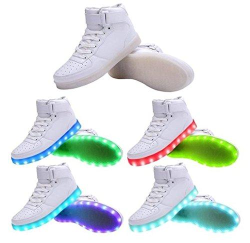 (Present:kleines Handtuch)JUNGLEST Neu Damen Sneakers Leuchtende Blinkende Schuhe Led Light Licht Farbwech Weiß