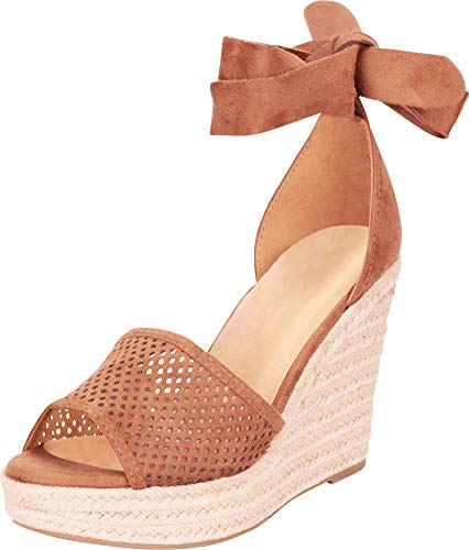 Cambridge Select Women's Laser Cutout Perforated Ankle Tie Chunky Espadrille Platform Wedge Sandal,11 B(M) US,Light Tan IMSU
