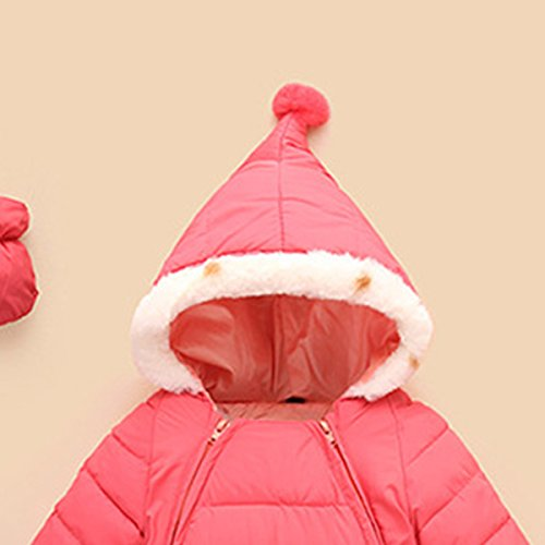 Snowsuit Months Romper Down Winter 6 Happy Warm Outerwear Baby Hooded Jumpsuit Puffer Cherry 48 Pink Thick Jacket ZqwwREt