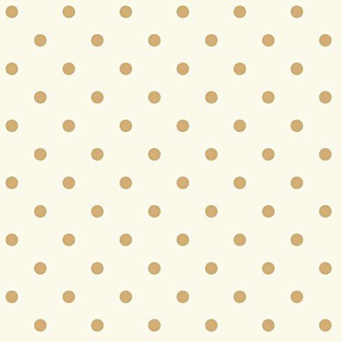 White Polka Dots Wallpaper - York Wallcoverings Waverly Kids Circle Sidewall Removable Wallpaper, White/Metallic Gold