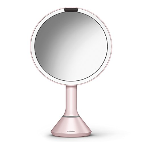 simplehuman 8'' Sensor Mirror with Brightness Control, Pink, Pink Stainless Steel by simplehuman
