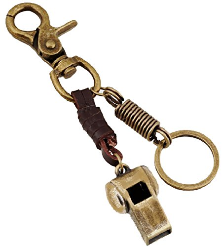 Keychain Antique Bronze with Whistle and Belt Loop Hook Loop Alarm Belt