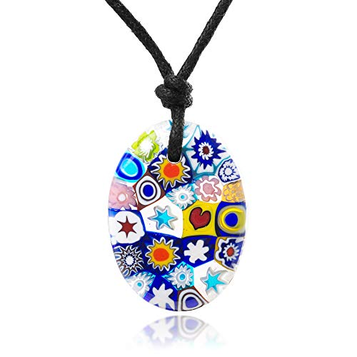 (Chuvora Millefiori Murano Glass Multi-Colored Oval Shaped Pendant 30 mm Adjustable Necklace 15