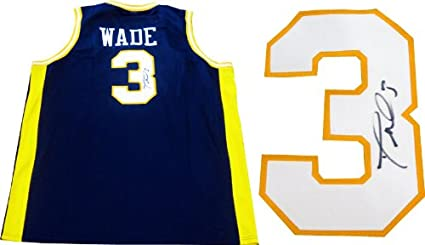 new product 114df 9a03c Dwyane Wade Autographed Marquette University Blue Jersey JSA ...