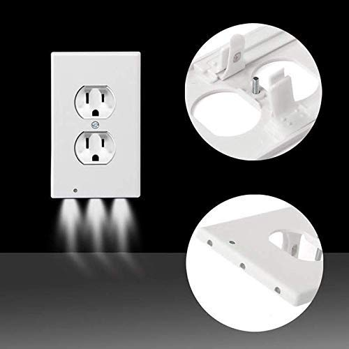 6Pack Illuminated Wall Outlet Plate, LED Night Light Plug Cover with Sensor Inductive Guidelight Easy Snap On No Wire Or Battery Needed Hallway Bathroom Stairway Decor by Sunshine-Light (Image #5)