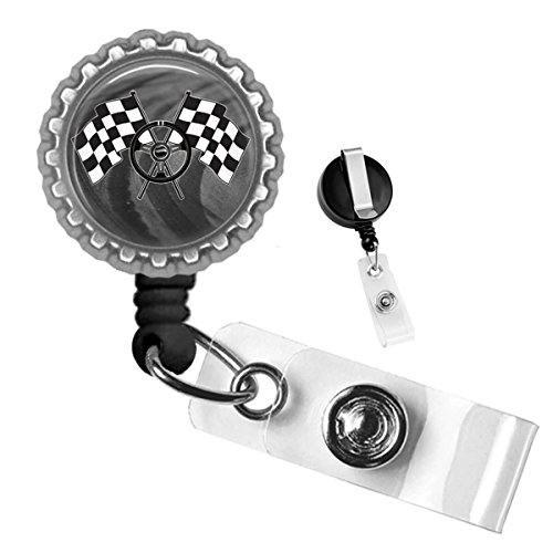Racing Steering Wheel with Checkered Flag Silver Retractable ID Tag Badge Reel by Geek - Badges Checkered