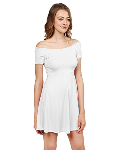Solid Tight Short Sleeve or Off Shoulder Sheath Princess Dress White S ()