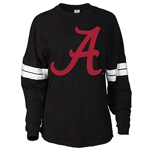 Official NCAA Alabama Roll Tide - State Pride 03AL-1 Womens Oversized Football Tee with Stripes