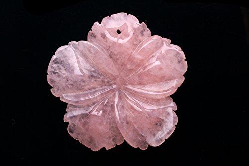 Rose Quartz Pendant Frangipani Flower 60mm