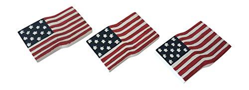 Handpainted Wooden American Flag Magnet (Set Of Three)