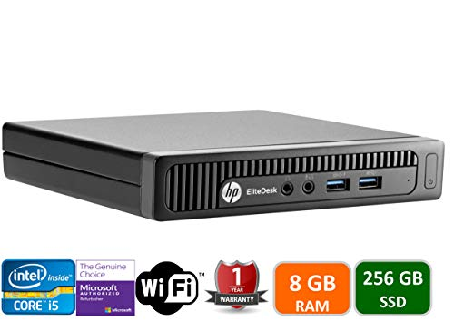 HP EliteDesk 800 G1 Tiny Computer Micro Tower PC, Intel Core i5, 8GB Ram, 256 GB SSD, WiFi,HDMI, Windows 10 Pro (Renewed) (Computer Hp Parts)