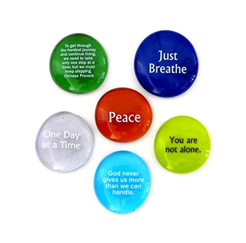 Comfort Stones, Encouraging and Comforting Sayings Imprinted on Translucent and Opaque Glass Stones, For Anyone Facing a Challenge. Set of Six, by Lifeforce Glass.