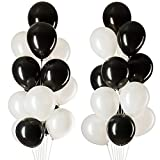 black and white decorations MOWO Black White Latex Balloons, Party Decorations, Helium Balloons, 12 inches, 3.2g/pcs, Pack of 100