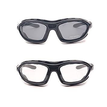 466af9028a Lot de 2 paires de lunettes de protection polarisées pour moto - A verres  clairs -