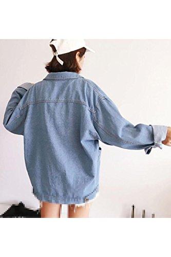 Yacun Ragazzo A Le Giacche Donne Cappotto Di Lunghe Il Jean Casuale Blu Massimo Al Maniche Jeans qqTt0dw