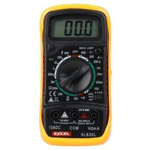 Multimetro voltímetro, ohmímetro, amperímetro,Excel XL830L negro y amarillo