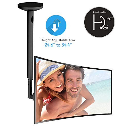 Adjustable Height TV Ceiling Mount - Swivel and Tilting Vertical VESA Universal Mounting Bracket, Mounts 23 to 42 Inch HDTV, LED, LCD, Plasma, Flat Screen Television Up to 30 KG - Pyle PCTVM15