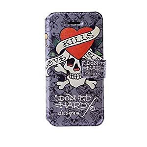 ZCL Fashion Skull Pattern Gray Leather Case with Holder & Card Slots for iPhone 5/5S