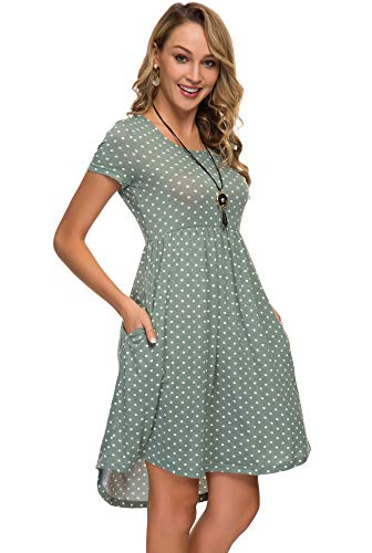 - Womens Midi Dress 3/4 Sleeve Polka Dot O Neck Casual Tunic Pleated Loose Vintage Retro Swing Dresses with Pockets (S, Green 802)