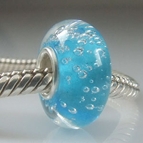 Bubble Charm / Foam Glass Bead 925 Sterling Silver Ocean Charm Core Spacer Bead fits European Bracelet (Light (Ocean Bead)