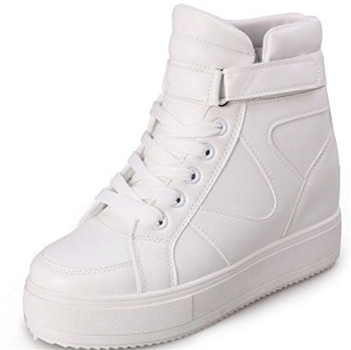 SATUKI Women's High Top Wedge Fashion Sneakers Hidden Heel Platform Casual Shoes (6.5, White)