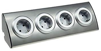 Edelstahl Aufbau Steckdosenleiste Steckdosenblock 4-fach für Küche ...