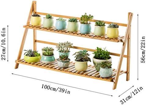 折りたたみ式植物スタンドディスプレイスタンド木製ガーデン植栽植物鉢植え多層リビングルームのバルコニーラック100×31×56センチ