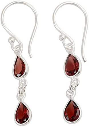 NOVICA Garnet .925 Sterling Silver Dangle Earrings 'Mystical Femme'