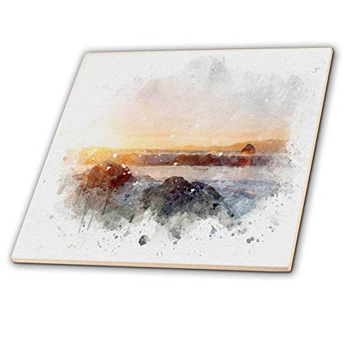 3dRose Anne Marie Baugh - Impressionist Mixed Media Art - Image Of Watercolor Beach Surf Art - 6 Inch Glass Tile (ct_318717_6)