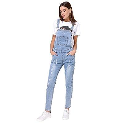 GCAROL Women's Strap Ripped Jeans Jumpsuits Denim Overalls