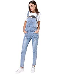 Womens Strap Ripped Hole Denim Jumpsuits Overalls