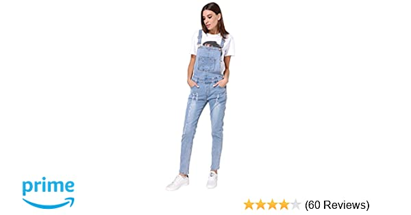 b532cace9864 Amazon.com  GCAROL Womens Strap Ripped Hole Denim Jumpsuits Overalls ...
